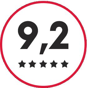 9,2 beoordeling met 5 sterren